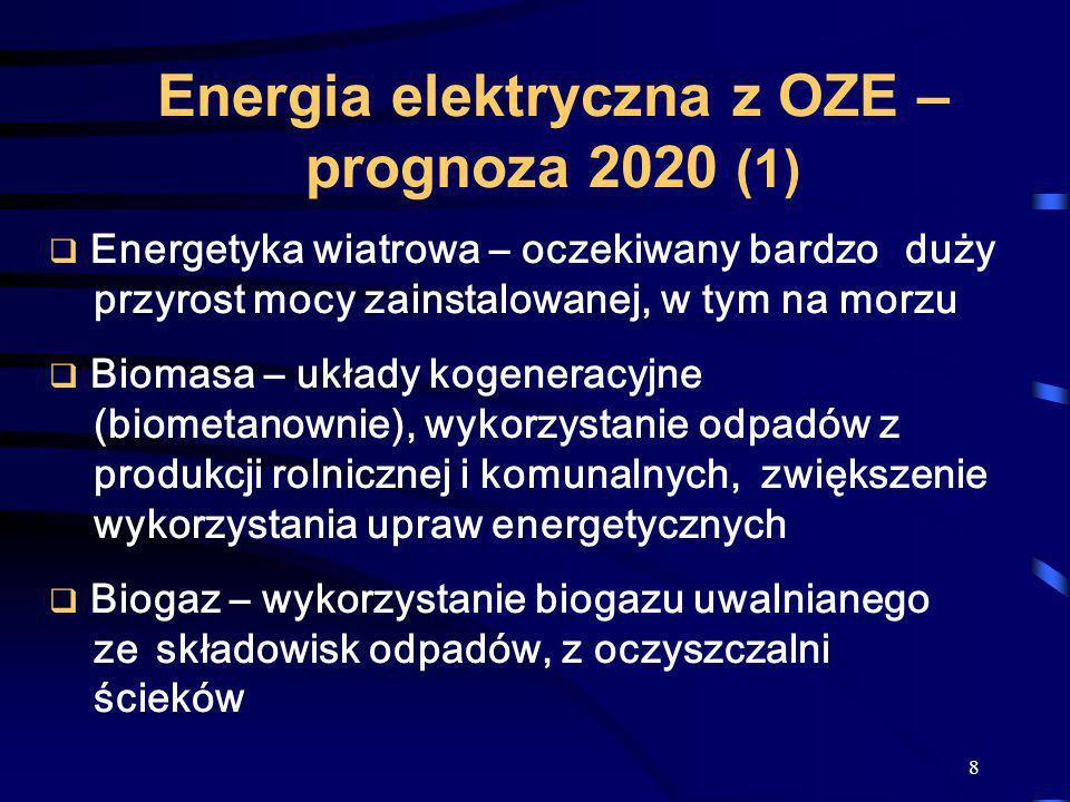 8 Energia elektryczna z OZE – prognoza 2020 (1) Energetyka wiatrowa – oczekiwany bardzo duży przyrost mocy zainstalowanej, w tym na morzu Biomasa – uk