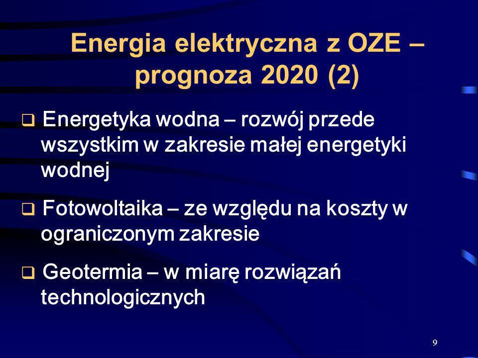 9 Energetyka wodna – rozwój przede wszystkim w zakresie małej energetyki wodnej Fotowoltaika – ze względu na koszty w ograniczonym zakresie Geotermia