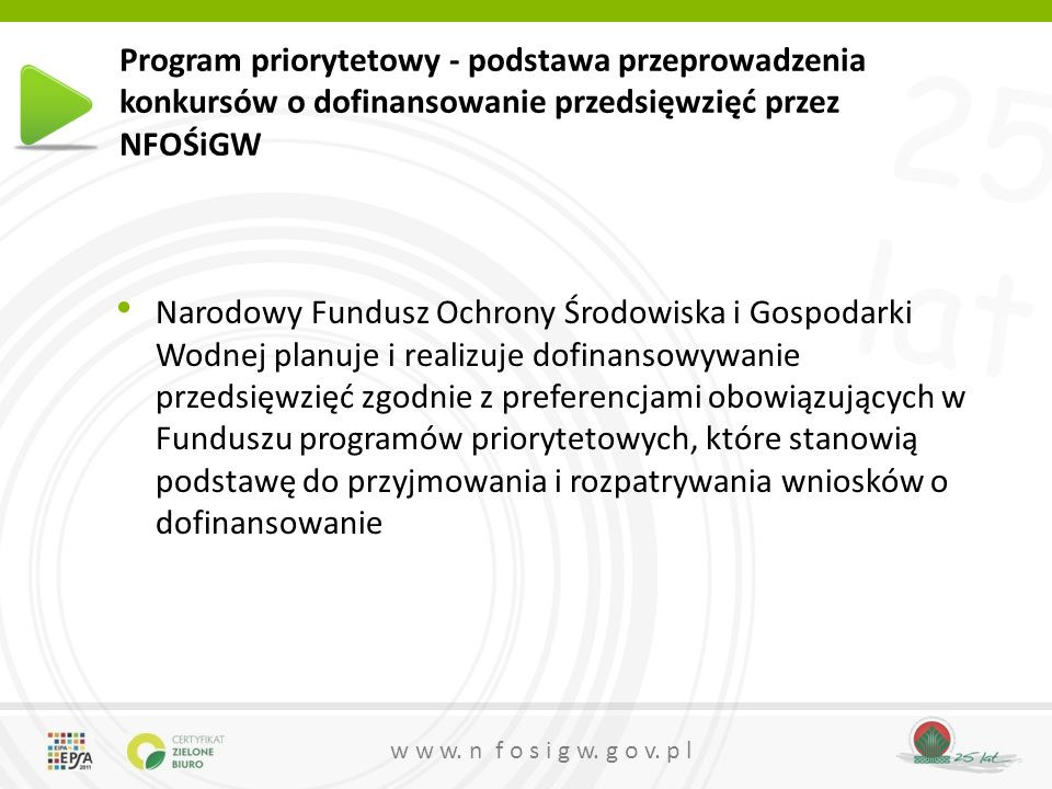 25 lat w w w. n f o s i g w. g o v. p l Program priorytetowy - podstawa przeprowadzenia konkursów o dofinansowanie przedsięwzięć przez NFOŚiGW Narodow
