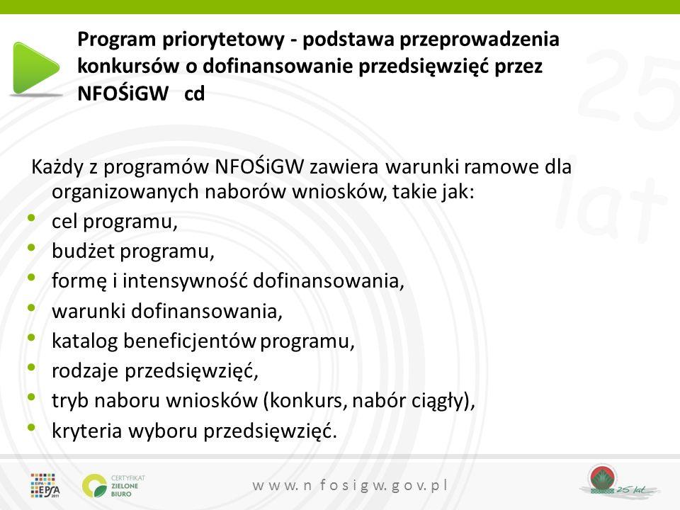 25 lat w w w. n f o s i g w. g o v. p l Program priorytetowy - podstawa przeprowadzenia konkursów o dofinansowanie przedsięwzięć przez NFOŚiGW cd Każd