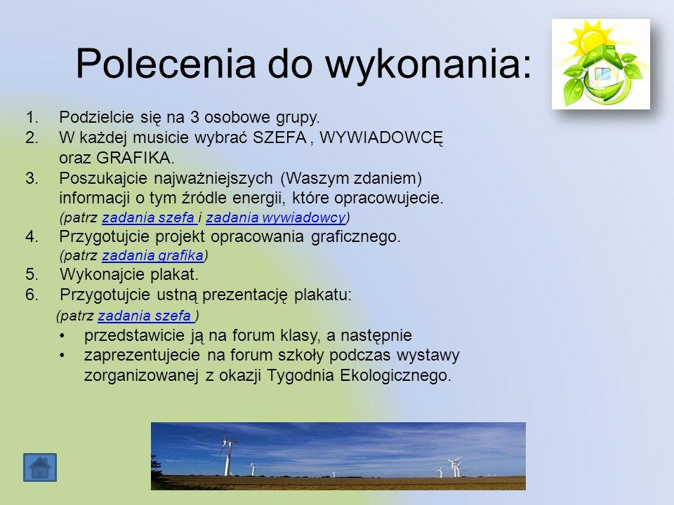 Źródła Oto adresy stron internetowych, z których możecie skorzystać: http://www.biomasa.org/index.php?d=artykul&kat=30&art=22 http://www.sciaga.pl/tekst/21000-21-odnawialne_zrodla_energii_i_zasobow Mile widziane wiadomości z innych stron.