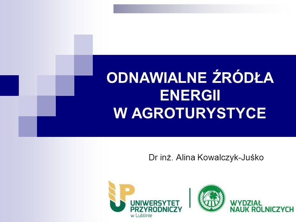 ODNAWIALNE ŹRÓDŁA ENERGII W AGROTURYSTYCE Dr inż. Alina Kowalczyk-Juśko