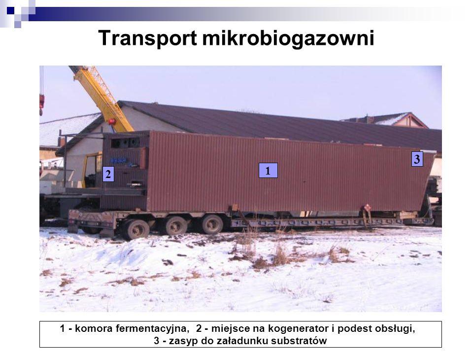 Transport mikrobiogazowni 1 2 3 1 - komora fermentacyjna, 2 - miejsce na kogenerator i podest obsługi, 3 - zasyp do załadunku substratów