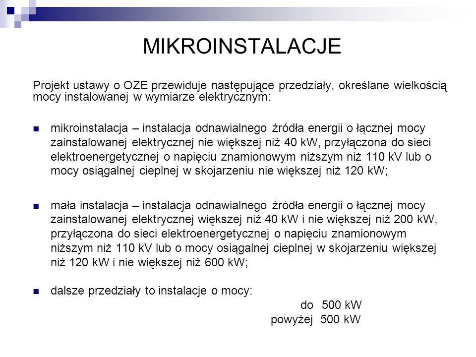 MIKROINSTALACJE Projekt ustawy o OZE przewiduje następujące przedziały, określane wielkością mocy instalowanej w wymiarze elektrycznym: mikroinstalacj