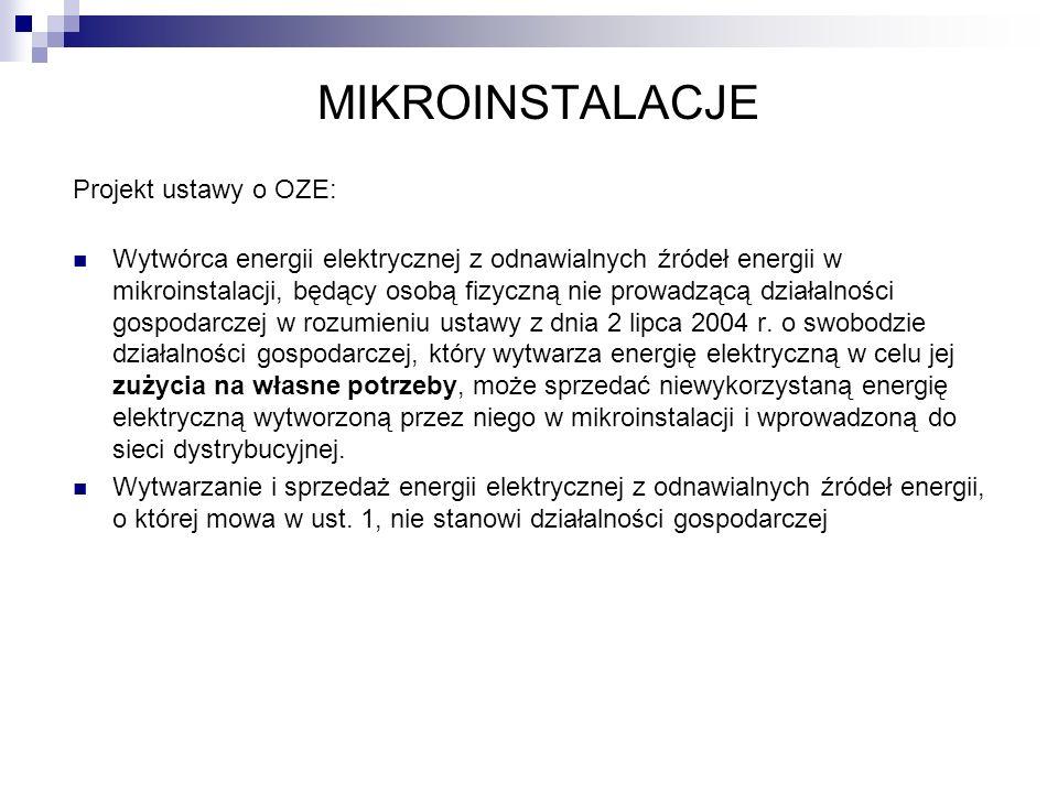 MIKROINSTALACJE Projekt ustawy o OZE: Wytwórca energii elektrycznej z odnawialnych źródeł energii w mikroinstalacji, będący osobą fizyczną nie prowadz