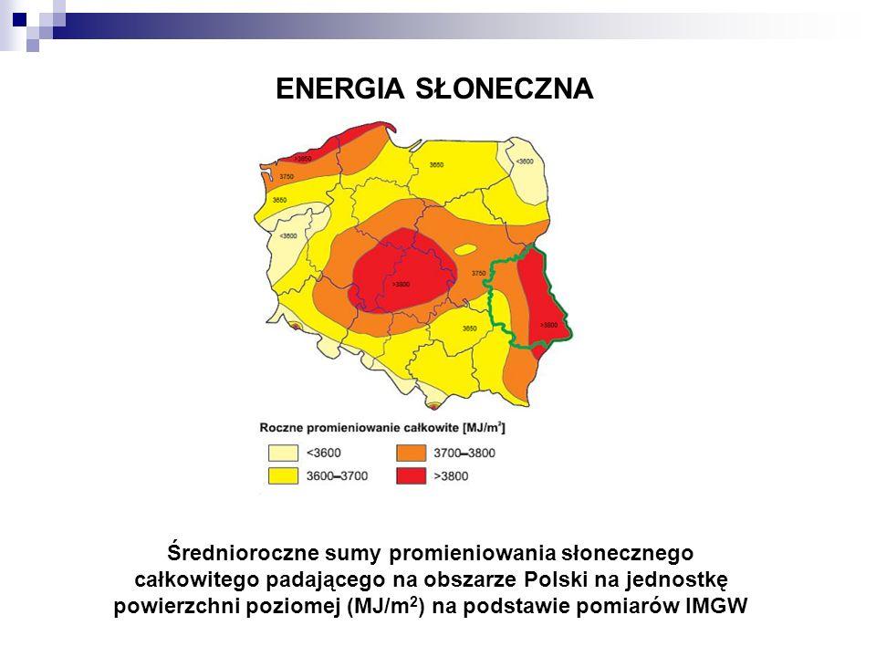 ENERGIA SŁONECZNA Średnioroczne sumy promieniowania słonecznego całkowitego padającego na obszarze Polski na jednostkę powierzchni poziomej (MJ/m 2 )
