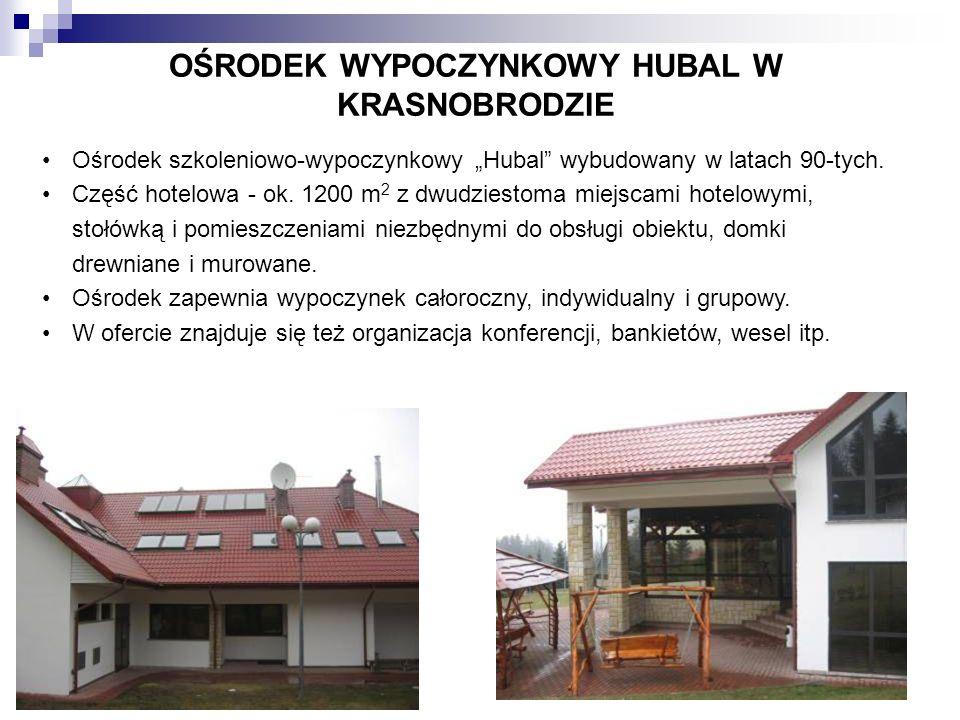 OŚRODEK WYPOCZYNKOWY HUBAL W KRASNOBRODZIE Ośrodek szkoleniowo-wypoczynkowy Hubal wybudowany w latach 90-tych. Część hotelowa - ok. 1200 m 2 z dwudzie