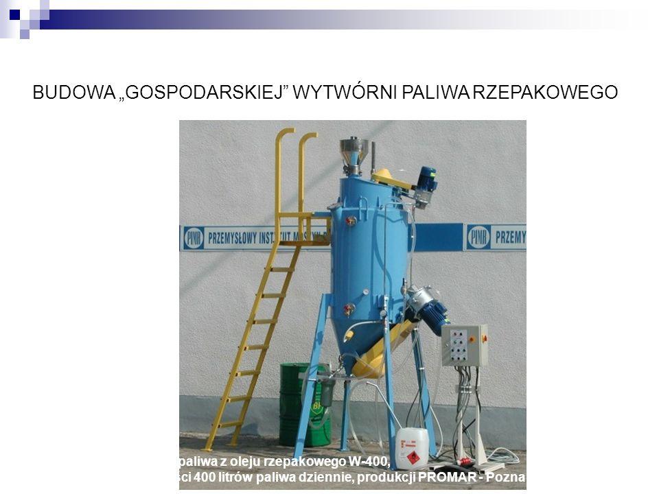 BUDOWA GOSPODARSKIEJ WYTWÓRNI PALIWA RZEPAKOWEGO Wytwórnia paliwa z oleju rzepakowego W-400, o wydajności 400 litrów paliwa dziennie, produkcji PROMAR