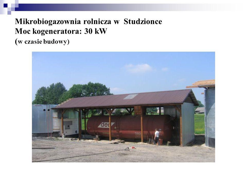 Mikrobiogazownia rolnicza w Studzionce Moc kogeneratora: 30 kW ( w czasie budowy)