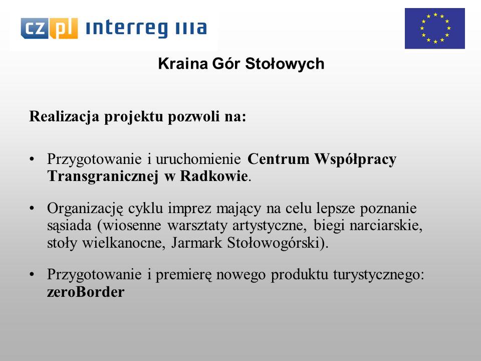 Kraina Gór Stołowych Realizacja projektu pozwoli na: Przygotowanie i uruchomienie Centrum Współpracy Transgranicznej w Radkowie.