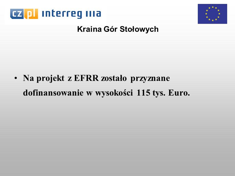 Kraina Gór Stołowych Na projekt z EFRR zostało przyznane dofinansowanie w wysokości 115 tys. Euro.