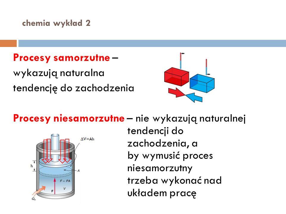 chemia wykład 2 Procesy samorzutne – wykazują naturalna tendencję do zachodzenia Procesy niesamorzutne – nie wykazują naturalnej tendencji do zachodzenia, a by wymusić proces niesamorzutny trzeba wykonać nad układem pracę