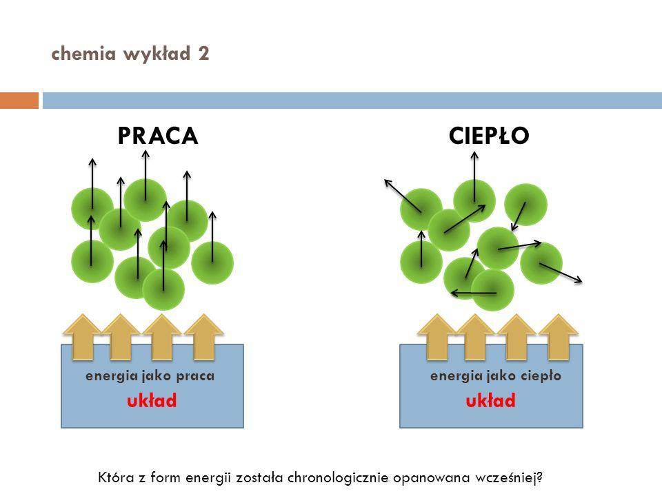 chemia wykład 2 PRACACIEPŁO układ energia jako pracaenergia jako ciepło Która z form energii została chronologicznie opanowana wcześniej?