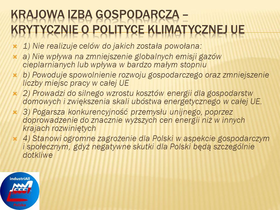 Unijna polityka klimatyczna nie jest polityką na miarę potrzeb i możliwości UE.
