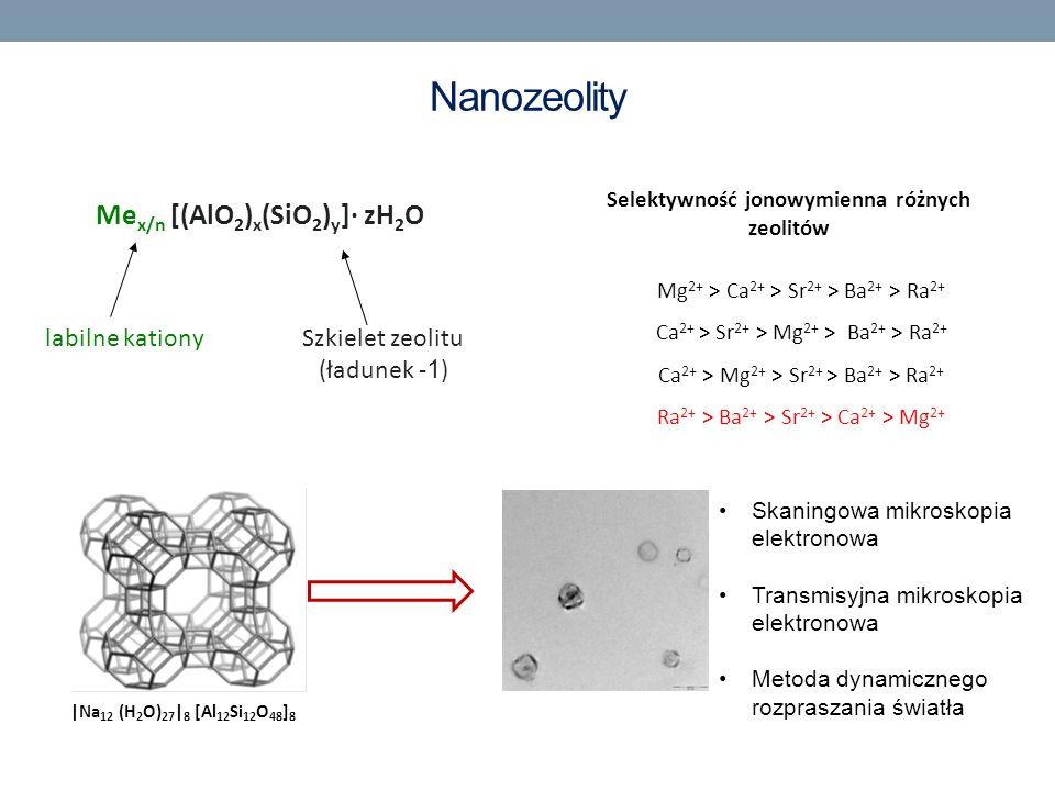 |Na 12 (H 2 O) 27 | 8 [Al 12 Si 12 O 48 ] 8 Me x/n [(AlO 2 ) x (SiO 2 ) y ]· zH 2 O labilne kationySzkielet zeolitu (ładunek - 1 ) Selektywność jonowy