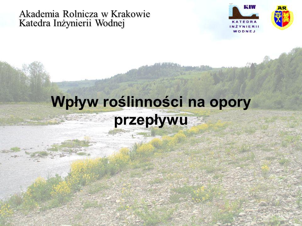 Wpływ roślinności na opory przepływu Akademia Rolnicza w Krakowie Katedra Inżynierii Wodnej