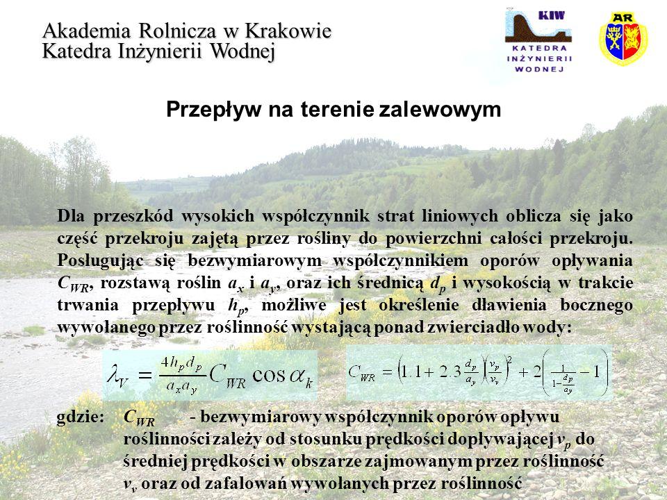 Przepływ na terenie zalewowym Akademia Rolnicza w Krakowie Katedra Inżynierii Wodnej Dla przeszkód wysokich współczynnik strat liniowych oblicza się j