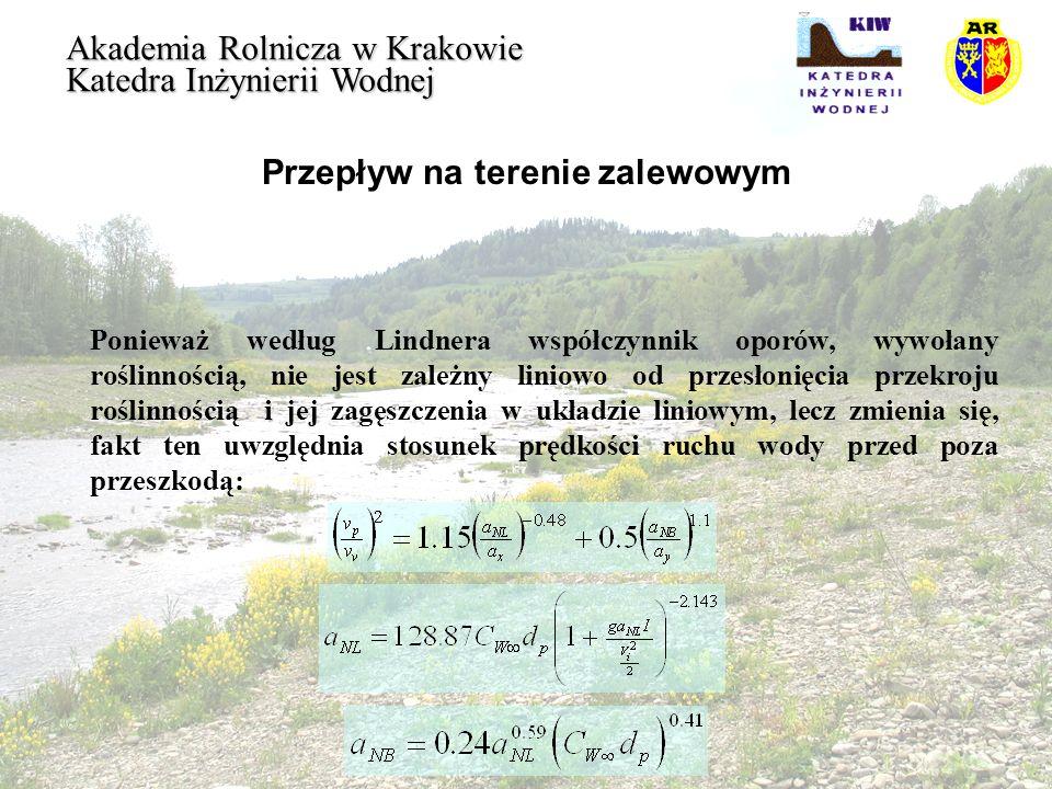 Przepływ na terenie zalewowym Akademia Rolnicza w Krakowie Katedra Inżynierii Wodnej Ponieważ według Lindnera współczynnik oporów, wywołany roślinnośc