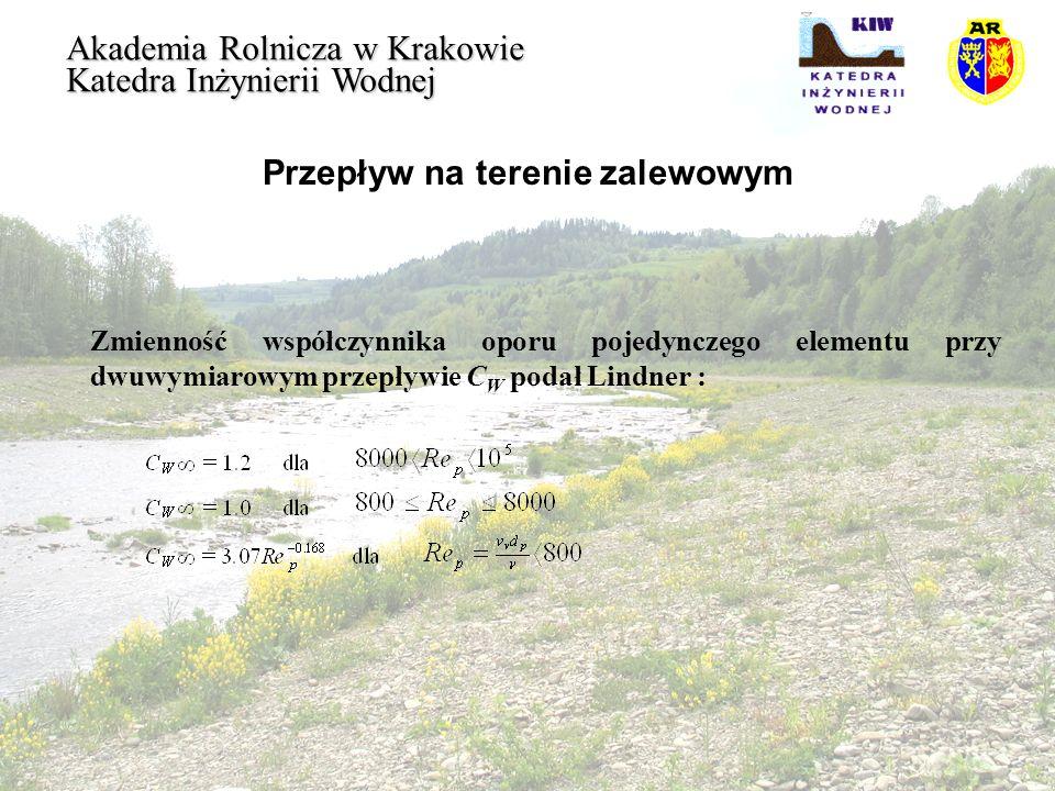 Przepływ na terenie zalewowym Akademia Rolnicza w Krakowie Katedra Inżynierii Wodnej Zmienność współczynnika oporu pojedynczego elementu przy dwuwymia