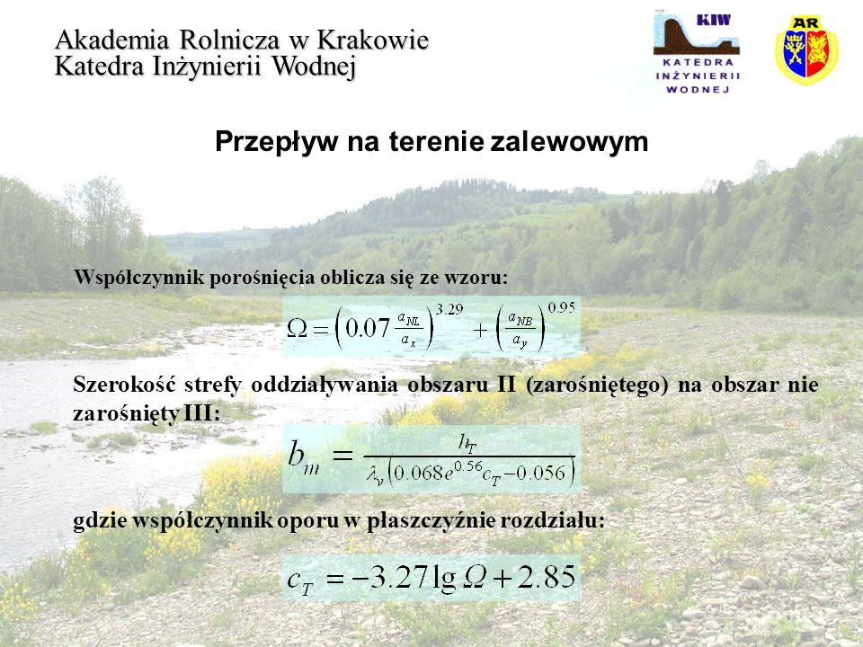 Przepływ na terenie zalewowym Akademia Rolnicza w Krakowie Katedra Inżynierii Wodnej Współczynnik porośnięcia oblicza się ze wzoru: Szerokość strefy o