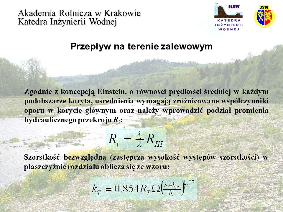 Przepływ na terenie zalewowym Akademia Rolnicza w Krakowie Katedra Inżynierii Wodnej Zgodnie z koncepcją Einstein, o równości prędkości średniej w każ