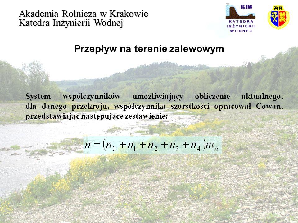 Przepływ na terenie zalewowym Akademia Rolnicza w Krakowie Katedra Inżynierii Wodnej System współczynników umożliwiający obliczenie aktualnego, dla da