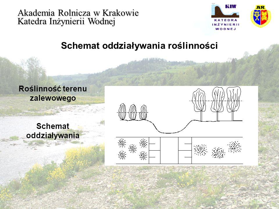 Opory opływu roślinności Akademia Rolnicza w Krakowie Katedra Inżynierii Wodnej Zakładając, że F Cd dla stałego zakresu liczby Reynoldsa, przy dnie sztywnym, jest wartością stałą i zastępując możemy napisać: Przyjmując założenie, że opory wywołane szorstkością denną są znikomo małe w stosunku do oporów opływu roślinności na terenie zalewowym można napisać:
