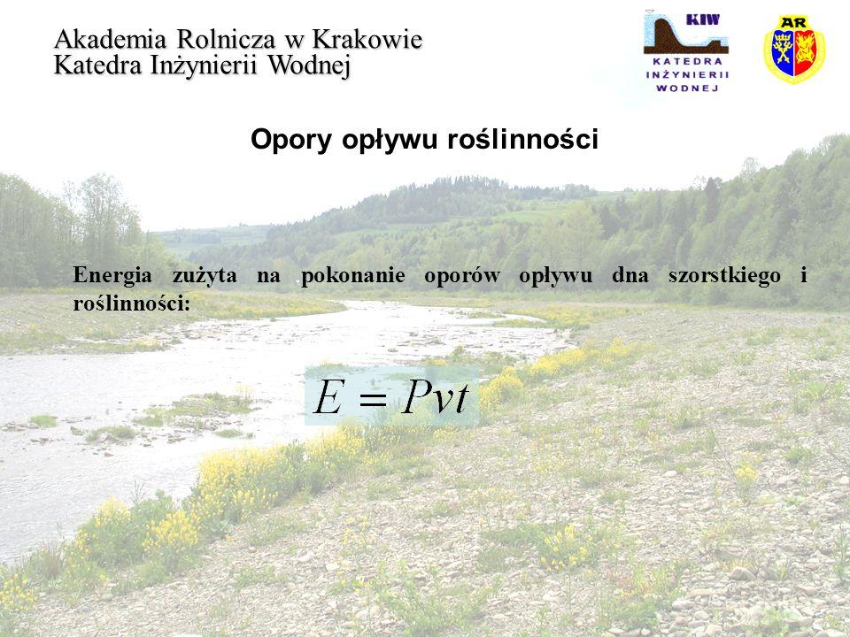 Opory opływu roślinności Akademia Rolnicza w Krakowie Katedra Inżynierii Wodnej Energia zużyta na pokonanie oporów opływu dna szorstkiego i roślinnośc