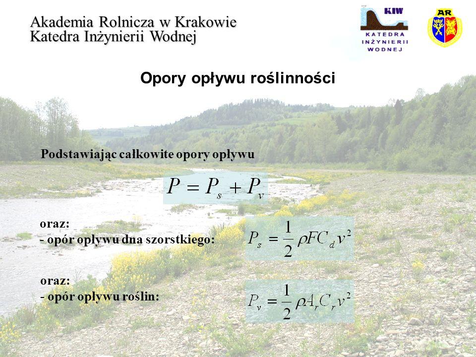 Opory opływu roślinności Akademia Rolnicza w Krakowie Katedra Inżynierii Wodnej Podstawiając całkowite opory opływu oraz: - opór opływu dna szorstkieg