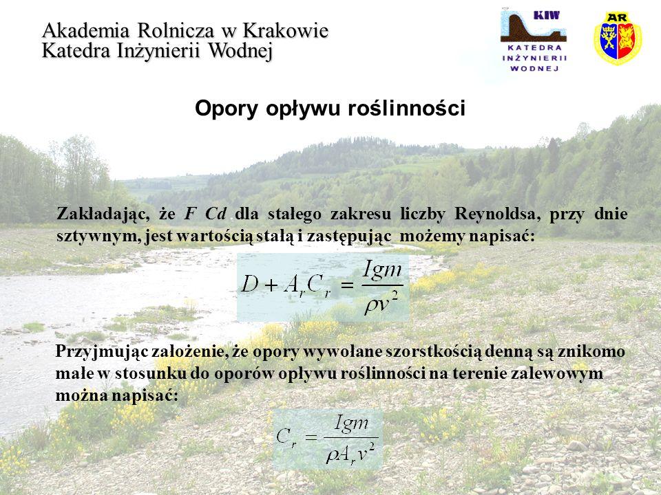 Opory opływu roślinności Akademia Rolnicza w Krakowie Katedra Inżynierii Wodnej Zakładając, że F Cd dla stałego zakresu liczby Reynoldsa, przy dnie sz