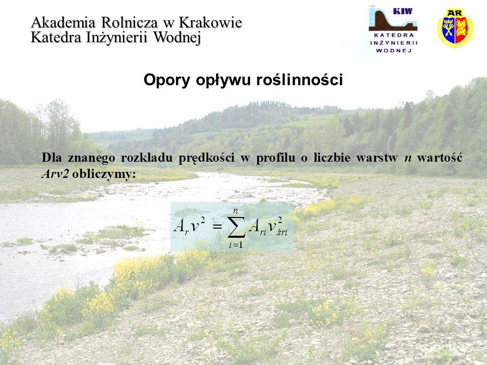 Opory opływu roślinności Akademia Rolnicza w Krakowie Katedra Inżynierii Wodnej Dla znanego rozkładu prędkości w profilu o liczbie warstw n wartość Ar