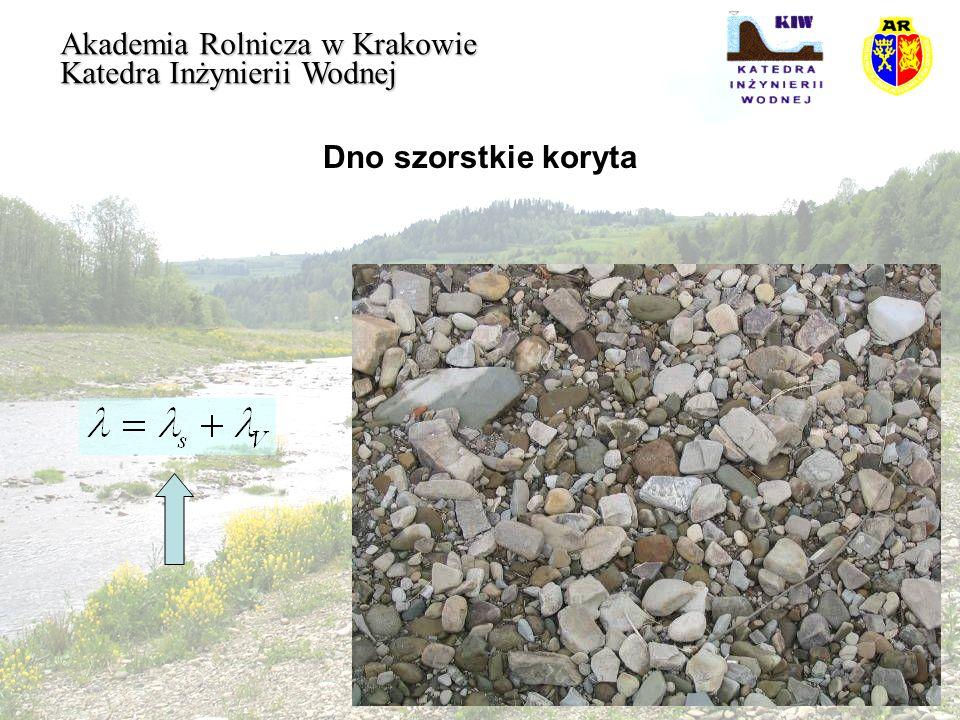 Dno szorstkie koryta Akademia Rolnicza w Krakowie Katedra Inżynierii Wodnej