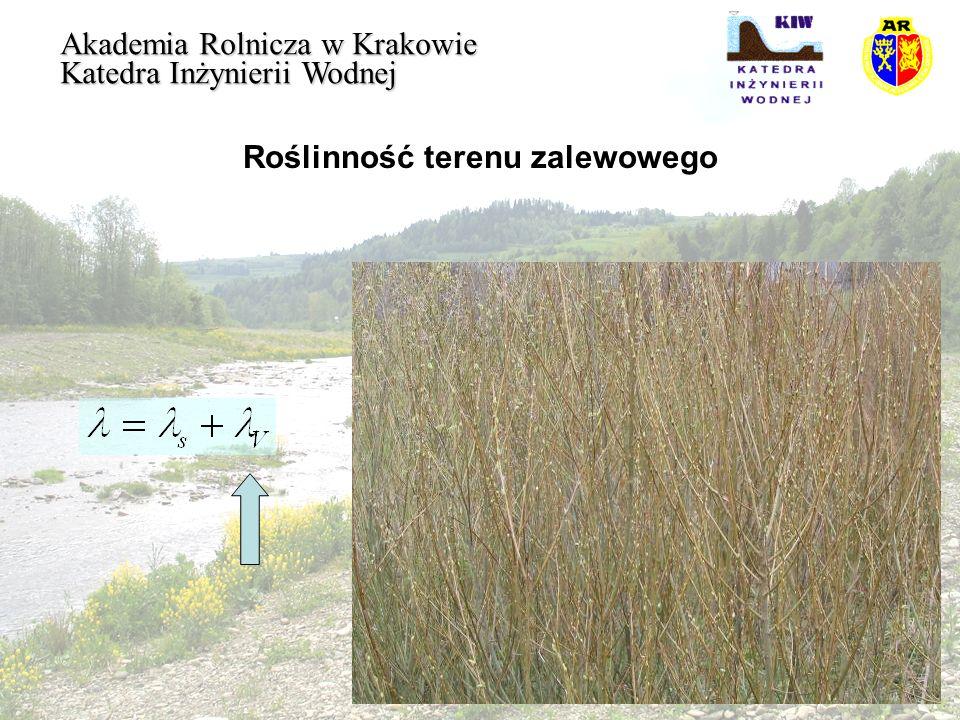 Przepływ na terenie zalewowym Akademia Rolnicza w Krakowie Katedra Inżynierii Wodnej Opory przepływu powstałe w rezultacie oddziaływaniem dna obliczymy wzorem Colebrooka - Whitea: wg Rickerta przy dużej chropowatości względnej koryta cieku równanie można uprościć do postaci :