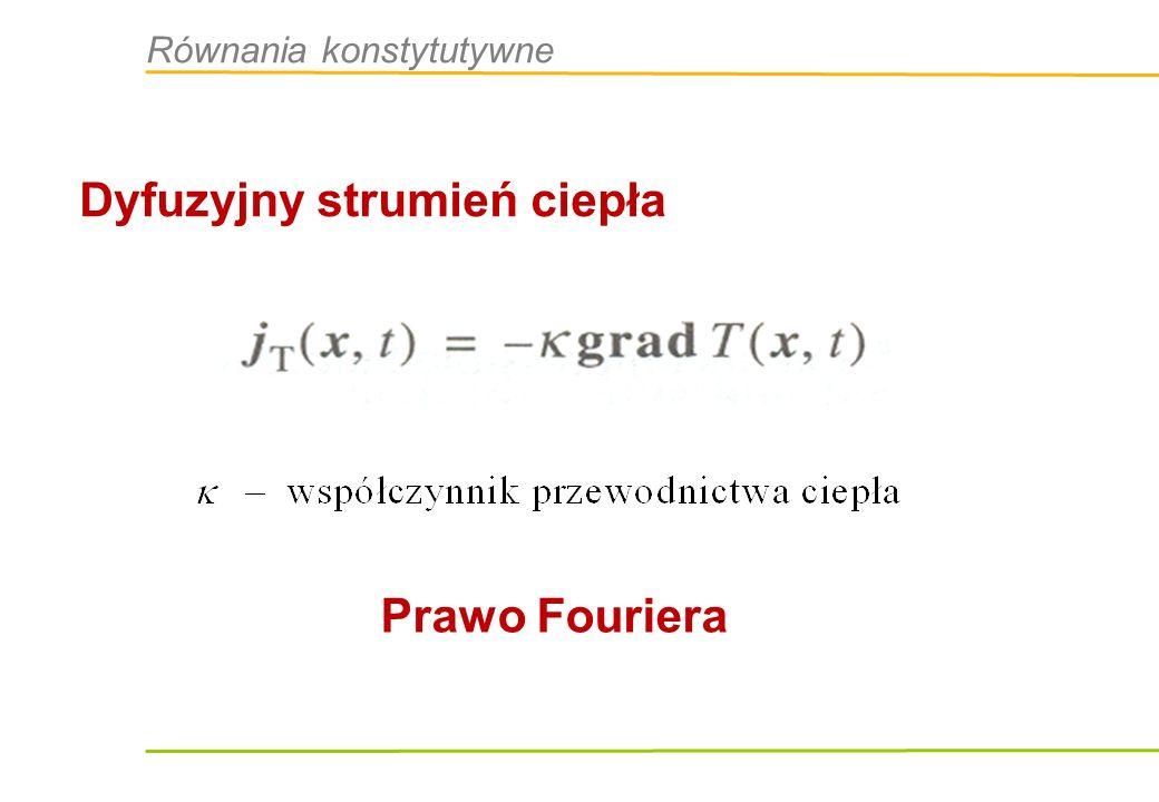 Dyfuzyjny strumień ciepła Prawo Fouriera Równania konstytutywne