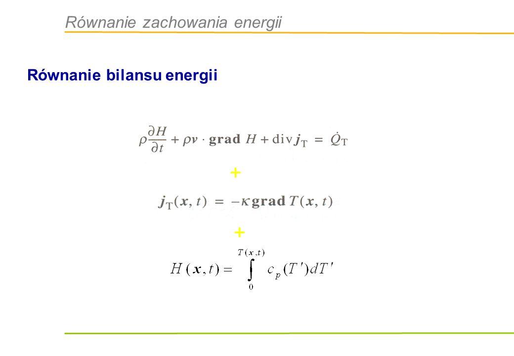 Równanie zachowania energii Równanie bilansu energii + +
