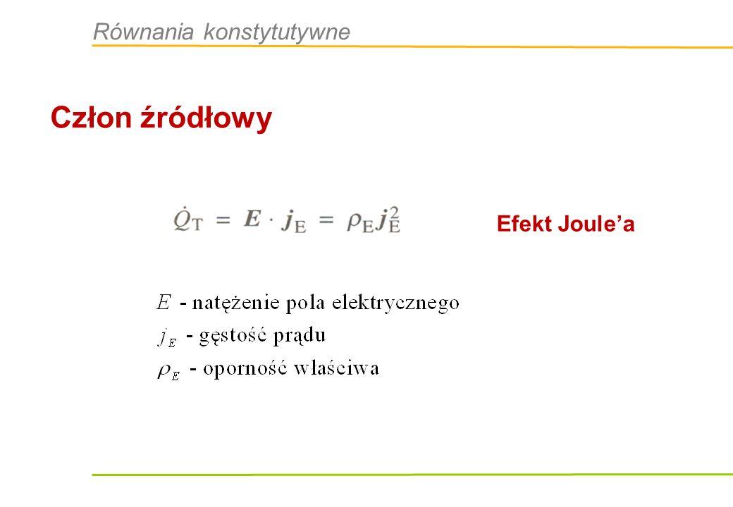 Człon źródłowy Efekt Joulea Równania konstytutywne