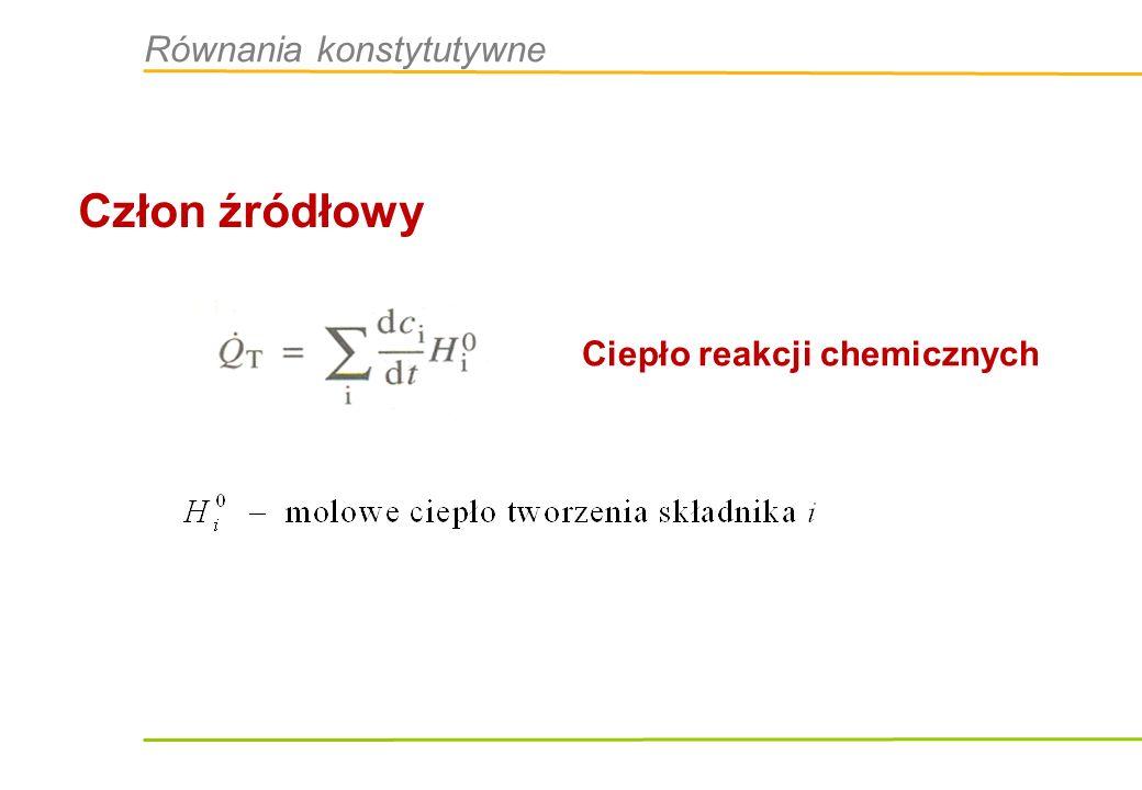 Człon źródłowy Ciepło reakcji chemicznych Równania konstytutywne