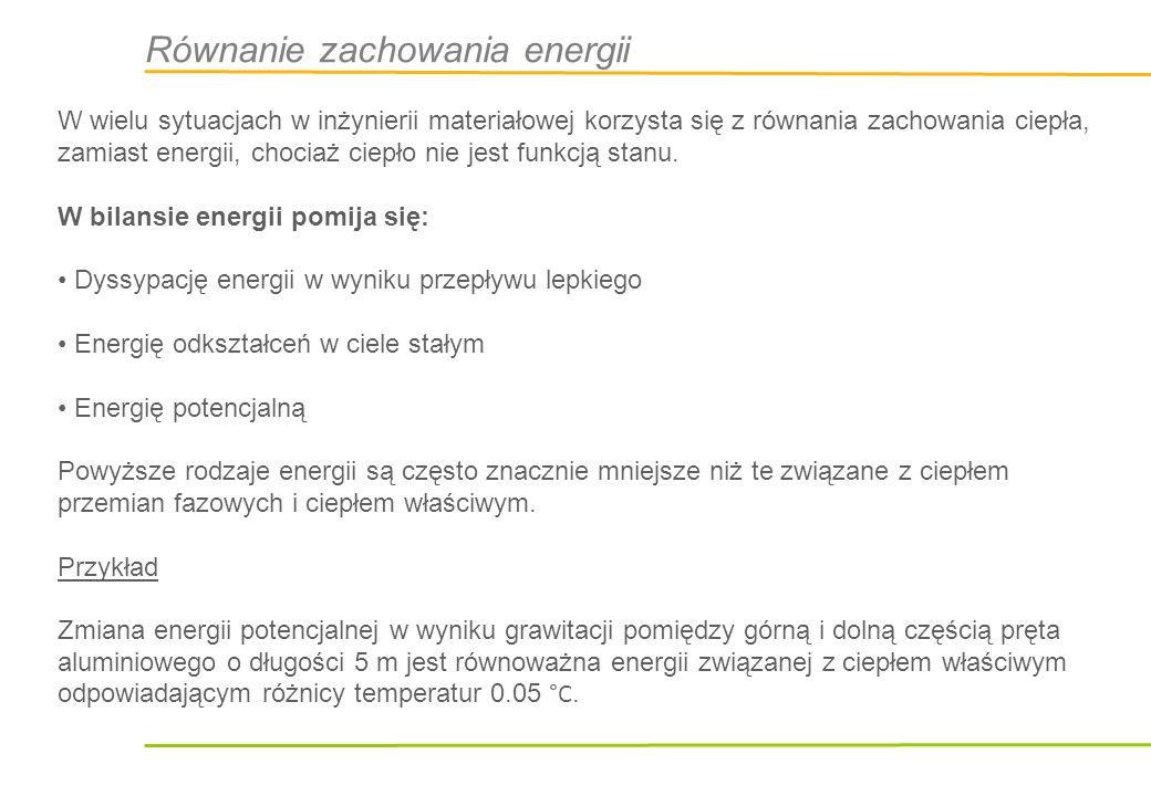 Równanie zachowania energii Entalpia właściwa (na jednostkę masy) Zmiana entalpii Zmiana w wyniku Kompresji/dekompresji Naprężenia Produkcja entropii Dyfuzja ciepła