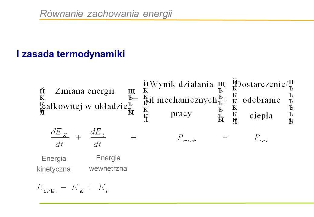 Równanie zachowania energii I zasada termodynamiki Energia kinetyczna Energia wewnętrzna