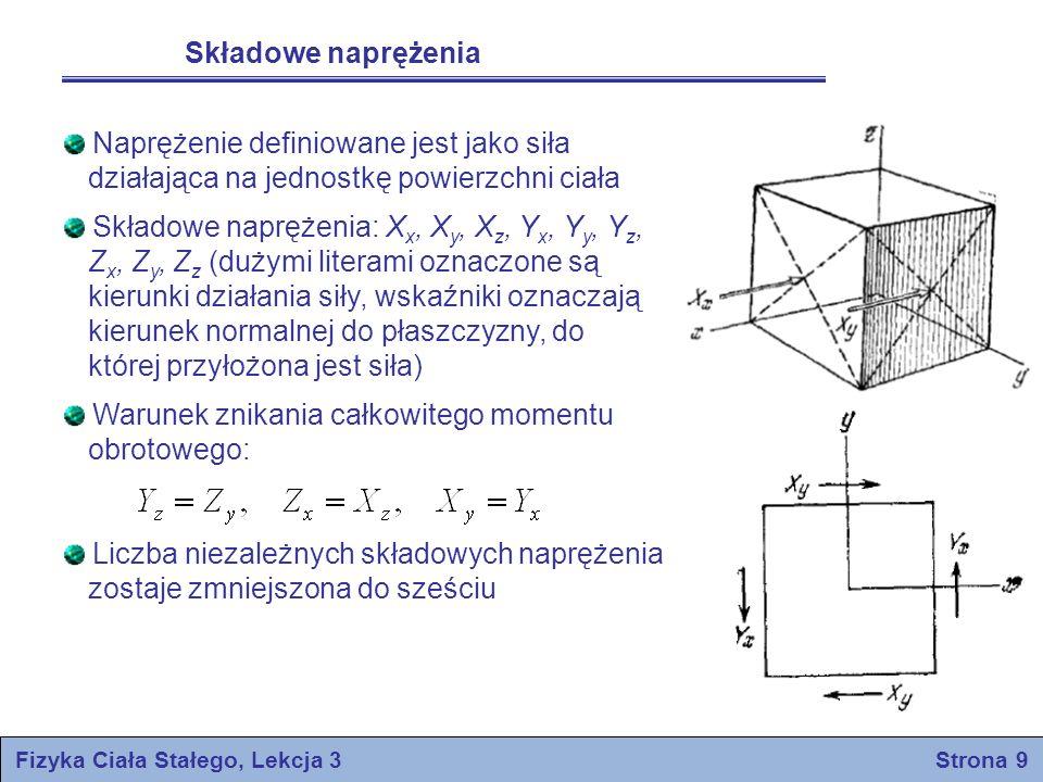 Składowe naprężenia Naprężenie definiowane jest jako siła działająca na jednostkę powierzchni ciała Składowe naprężenia: X x, X y, X z, Y x, Y y, Y z,