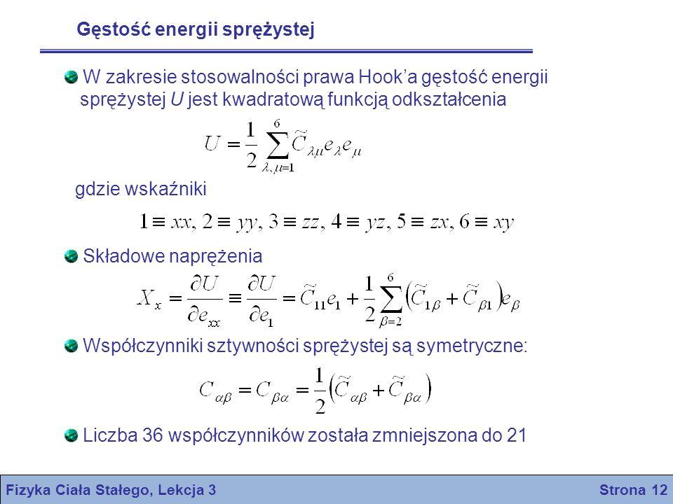Fizyka Ciała Stałego, Lekcja 3 Strona 12 Gęstość energii sprężystej W zakresie stosowalności prawa Hooka gęstość energii sprężystej U jest kwadratową