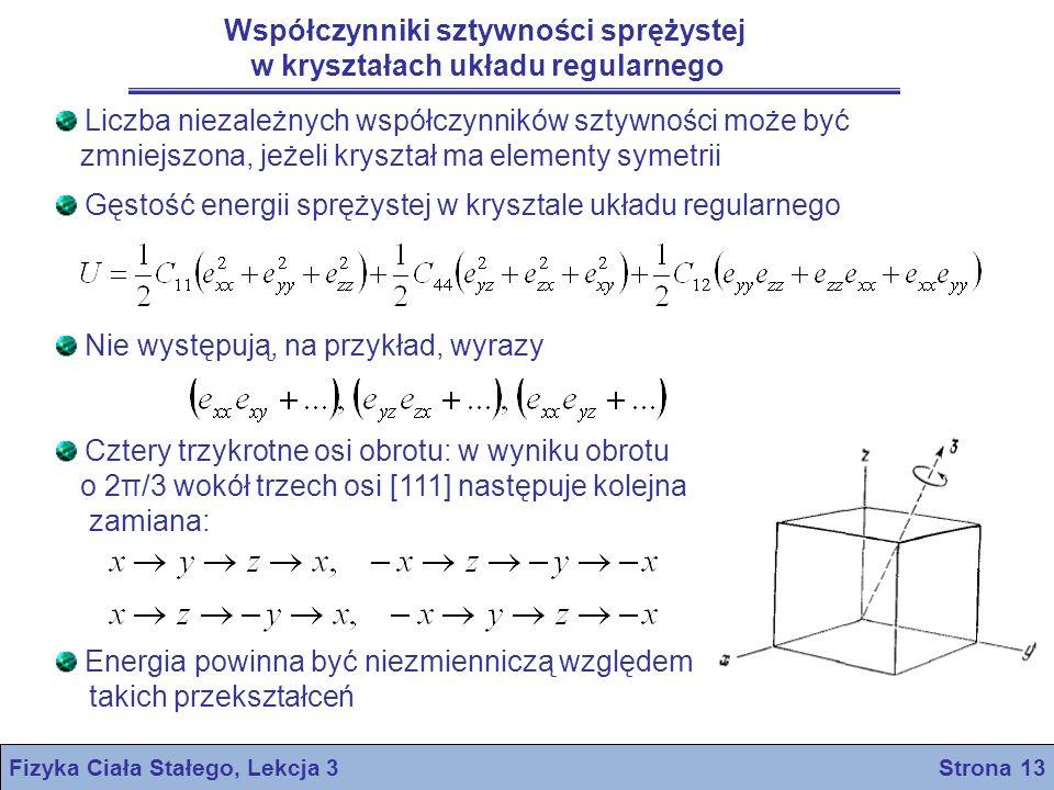 Fizyka Ciała Stałego, Lekcja 3 Strona 13 Współczynniki sztywności sprężystej w kryształach układu regularnego Liczba niezależnych współczynników sztyw