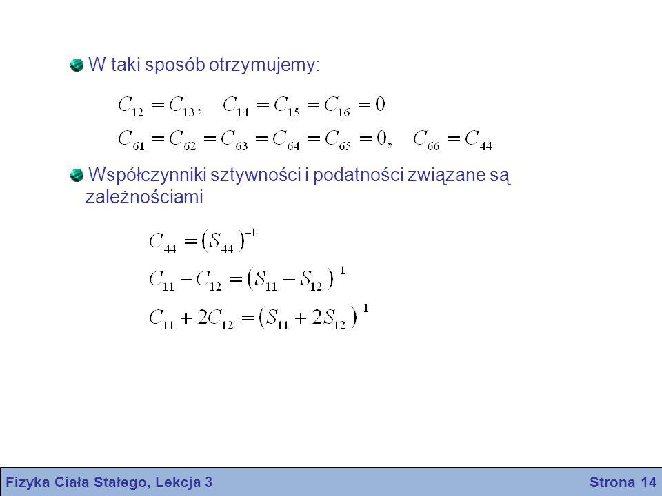 Fizyka Ciała Stałego, Lekcja 3 Strona 14 W taki sposób otrzymujemy: Współczynniki sztywności i podatności związane są zależnościami