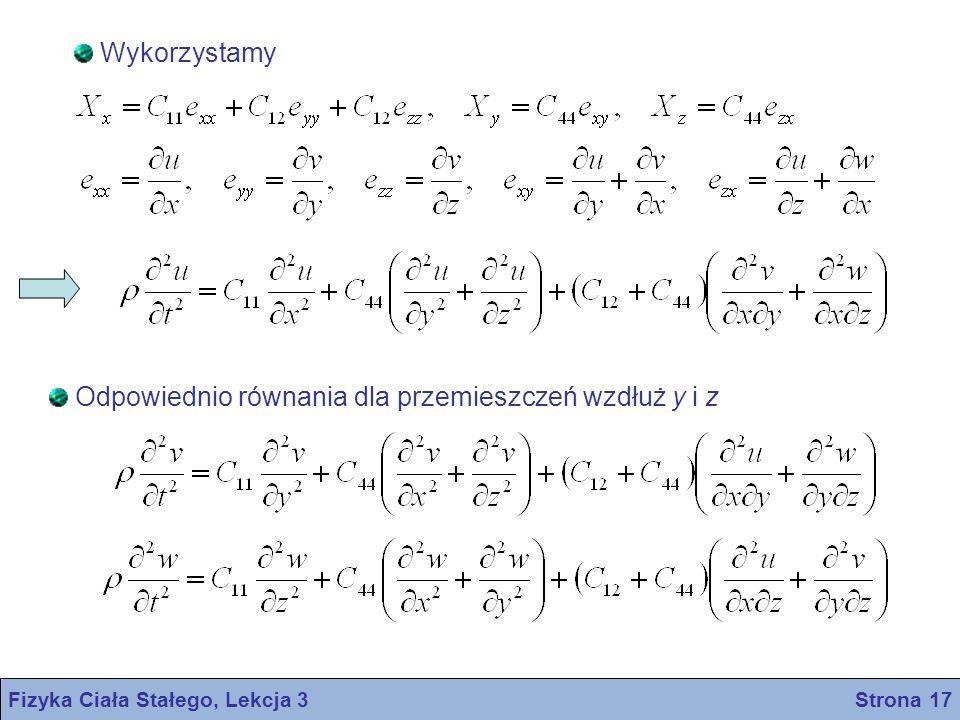 Fizyka Ciała Stałego, Lekcja 3 Strona 17 Wykorzystamy Odpowiednio równania dla przemieszczeń wzdłuż y i z