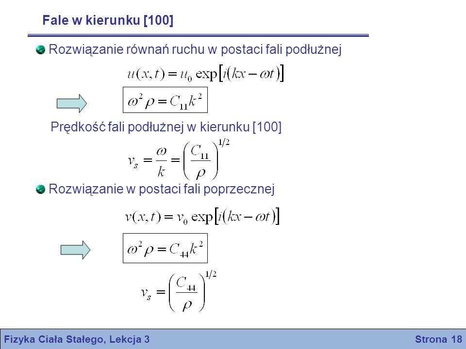 Fizyka Ciała Stałego, Lekcja 3 Strona 18 Fale w kierunku [100] Rozwiązanie równań ruchu w postaci fali podłużnej Prędkość fali podłużnej w kierunku [1