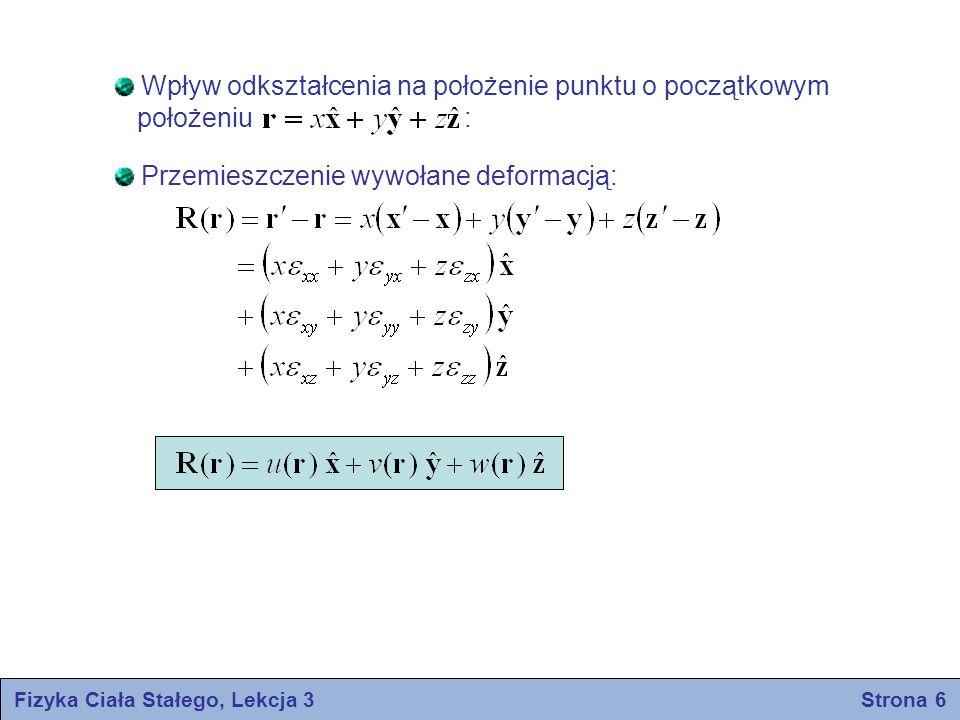 Fizyka Ciała Stałego, Lekcja 3 Strona 6 Wpływ odkształcenia na położenie punktu o początkowym położeniu : Przemieszczenie wywołane deformacją: