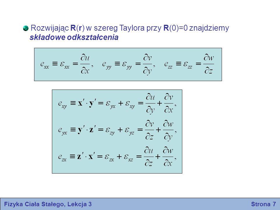 Fizyka Ciała Stałego, Lekcja 3 Strona 7 Rozwijając R(r) w szereg Taylora przy R(0)=0 znajdziemy składowe odkształcenia