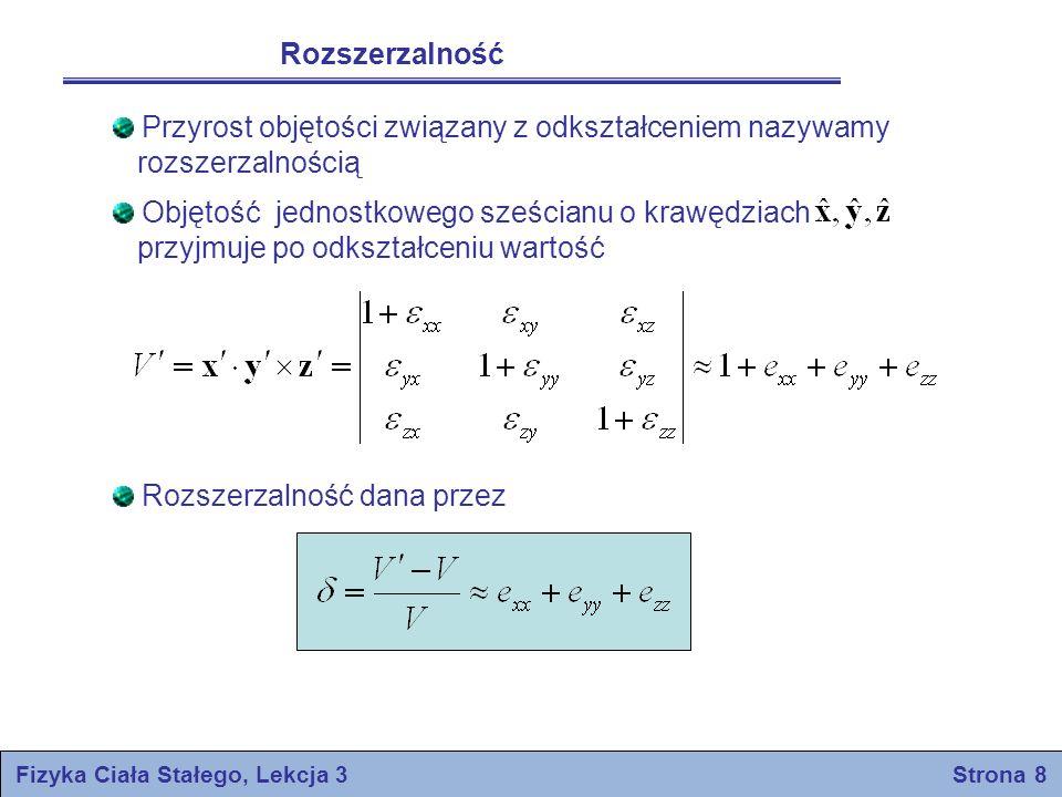 Fizyka Ciała Stałego, Lekcja 3 Strona 8 Rozszerzalność Przyrost objętości związany z odkształceniem nazywamy rozszerzalnością Objętość jednostkowego s