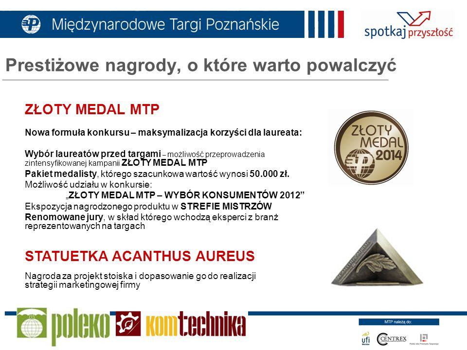ZŁOTY MEDAL MTP Nowa formuła konkursu – maksymalizacja korzyści dla laureata: Wybór laureatów przed targami – możliwość przeprowadzenia zintensyfikowa