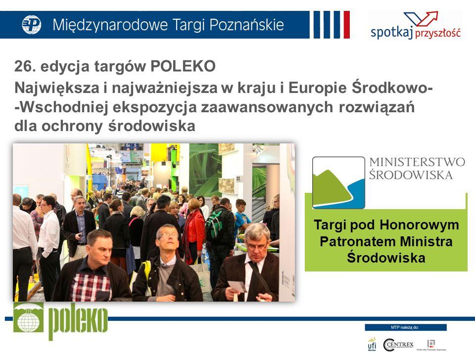 Największa i najważniejsza w kraju i Europie Środkowo- -Wschodniej ekspozycja zaawansowanych rozwiązań dla ochrony środowiska Targi pod Honorowym Patr